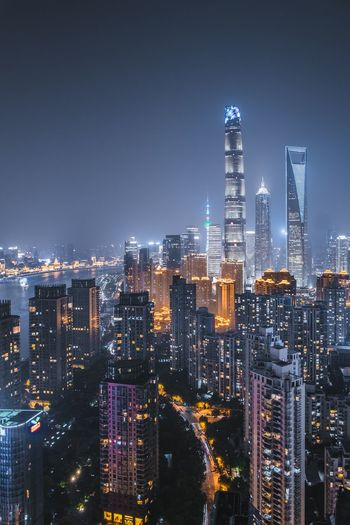 Shanghai at it's best Skyscraper Cityscape Architecture Night Building Exterior Illuminated Modern Urban Skyline City Downtown District Built Structure Sky Travel Destinations First Eyeem Photo