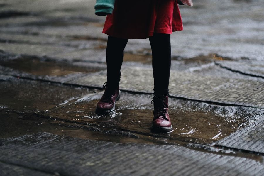 Puddles Fashion Photography Fashion Style Street Photography Pitti Palace Firenze Florence Italy Docmartens Doc Martens Wet Rain Water Rainy Season Low Section One Person Weather Puddle Outdoors