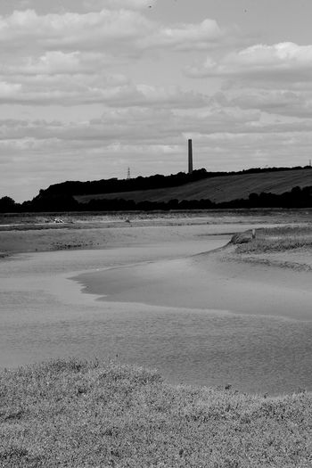 The Country Chimney Sky Land Cloud - Sky Water Tranquil Scene Tranquility Beauty In Nature Day No People Scenics - Nature Sea Architecture Environment Outdoors Built Structure Salt Flat Chimney Blackandwhite Black And White