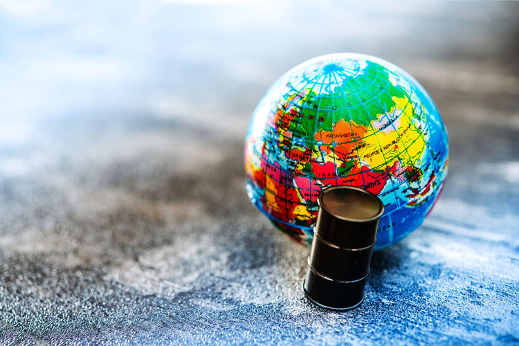 Close-up of miniature globe on table