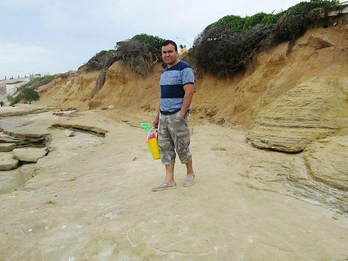 Papa Bear ready to make sand castles. La Jolla Cove La Jolla Coast San Diego Sand Father Sandcastle Ocean