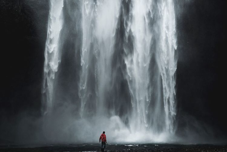 Magical waterfall Iceland Skogafoss Water One Person Real People Standing Lifestyles Waterfall Nature Beauty In Nature Outdoors Flowing Water