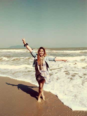 EyeEm Selects Water Sea Portrait Young Women Beach Full Length Smiling Women Beautiful Woman Sand