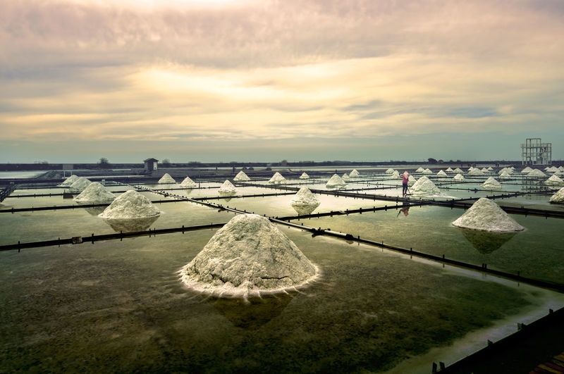 Tainan Jingzaijiao Tile-paved Salt Fields Beauty In Nature Day Nature No People Outdoors Salt - Mineral Salt Basin Salt Flat Scenics Sea Sky Tranquil Scene Tranquility Water