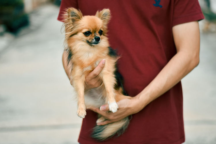 Man holding dog standing outdoors