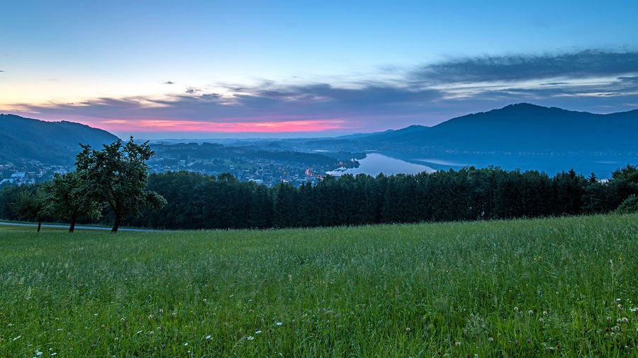 Morgenstimmung Landschaft Gmunden Traunsee Berge Morgens Plant Beauty In Nature Scenics - Nature Sky Tranquil Scene Environment Tree Tranquility Landscape Land Growth Cloud - Sky Field Green Color Grass Mountain Non-urban Scene Nature No People Idyllic Outdoors Plantation Weichgezeichnet
