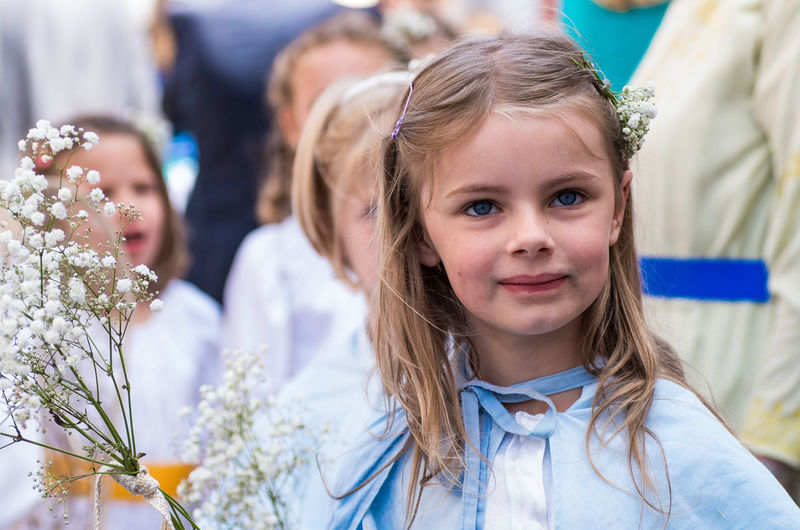 Looking At Camera Long Hair Front View Portrait Focus On Foreground Beauty Belgium. Belgique. Belgie. Belgien. Etc. Reënaction Folklore Festive Traditional Clothing Looking At Camera Lier Procession Gummarus child girl