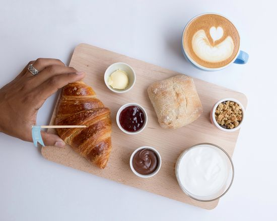 EyeEm Selects High Angle View Indoors  Table Food And Drink Food Close-up Day Freshness Brunch Bread Breakfast Croissant Ready-to-eat Food And Drink Freshness Foodstyling White Background Human Hand Human Body Part Eating Healthy Coffee - Drink Coffee Cup Latte Cappuccino