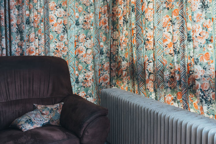 Sofa By Curtain At Home
