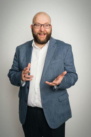 Businessman Leeds Suit Man Smiling Hands Bearded