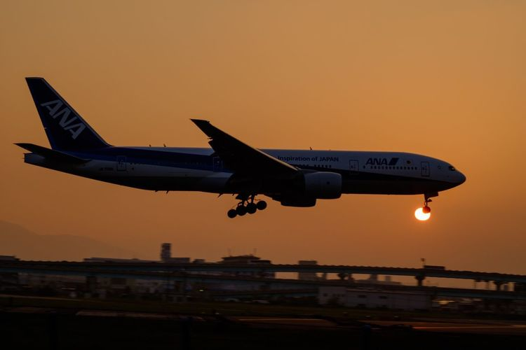 Traveling Home For The Holidays Transportation Airplane Sunset Travel My Favorite Place Sky Japan