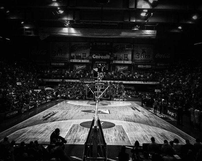 Basketball Court Black And White Black & White Indoors  Sport Real People Large Group Of People Audience Crowd Belgrade Serbia Red Star Crvena Zvezda Halftime Hall Performance Parquet Floor Wallpaper Wallpapers IPhone IPhoneography First Eyeem Photo