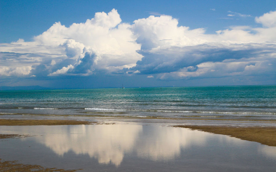 Beach Photography Cloud Growth Reflection Adriatic Adriatic Sea Adriatico Beach Beauty In Nature Blue Cloud - Sky Clouds And Sky Color Day Horizon Over Water Idyllic Italy Nature No People Outdoors Reflection Sand Scenics Sea Sky Tranquil Scene Tranquility Water