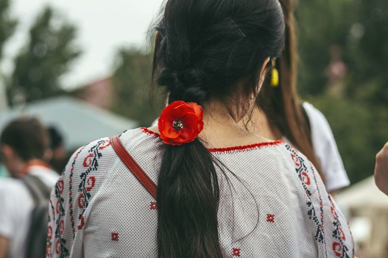 Girl With Flower In Her Hair Traditional Costume Girl's Hair Easterneurope Summertime Moldova Showcase July Showcase July 2016 Women Around The World