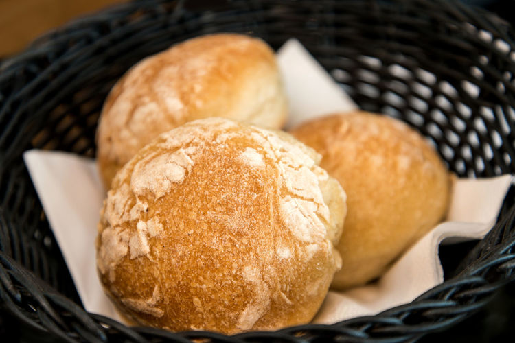 Close-up of fresh buns in basket