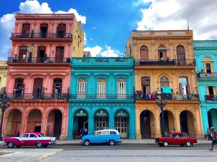 Row Cuba Havana Colors Building Exterior Architecture Built Structure City Cloud - Sky Car Street Incidental People Day Travel