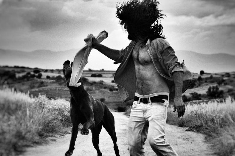 Blackandwhite Outdoors Dog Men