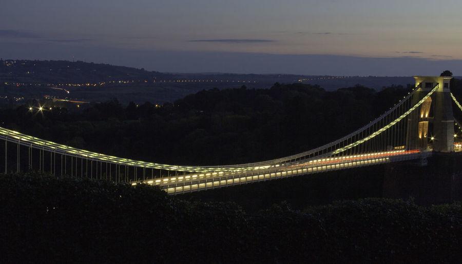 Bridge Illuminated Night Bridge - Man Made Structure City Long Exposure Suspension Bridge Clifton Suspension Bridge Bristol
