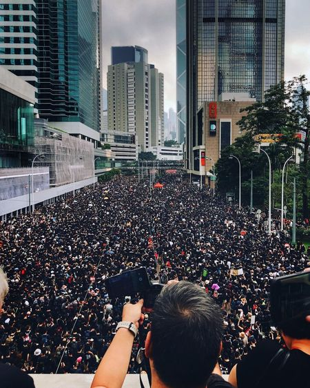Two million of people, with hope. IPhoneography HongKong Hong Kong Protest Architecture City Built Structure Building Exterior Real People Crowd The Photojournalist - 2019 EyeEm Awards Lifestyles Group Of People Large Group Of People Outdoors City Life Skyscraper Cityscape
