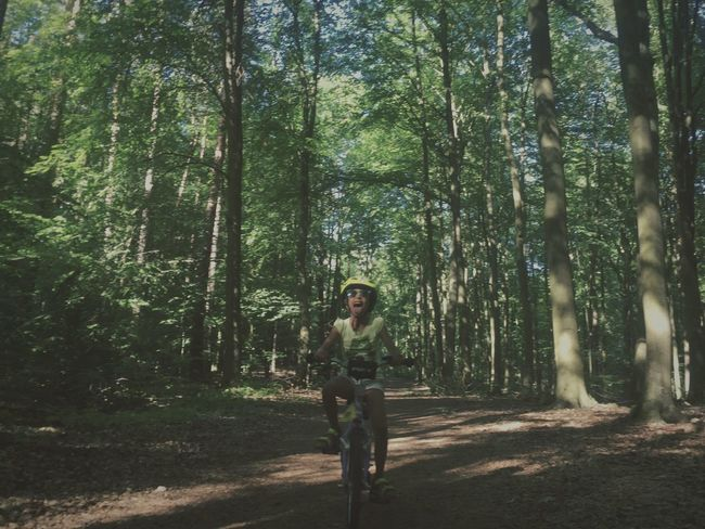 Tree Forest One Person Tree Trunk Nature Day Real People Casual Clothing Leisure Activity Full Length Outdoors Young Adult Cycling Childhood Adventure Peoplee