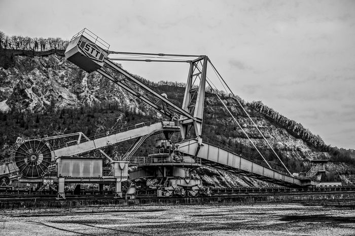 Big Machines Black And White Day Europe Giant Machine History Industrial Industry Industry Iron Man Made Structure Metal Construction No People Outdoors Sky Slovenia Trbovlje Tree Workers Area