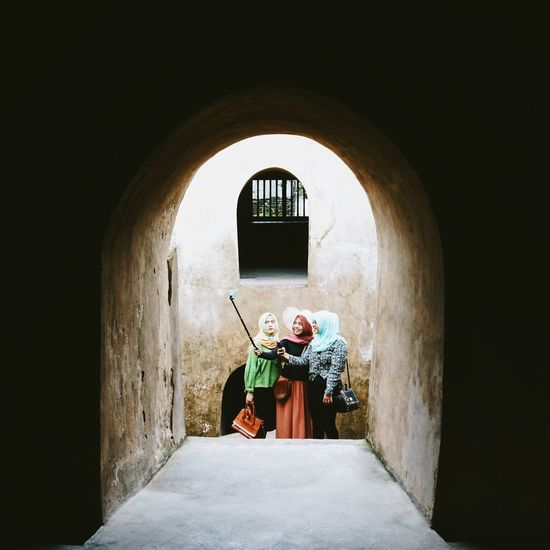 Ancient Architecture Architecture ASIA Asian  Colorful Corridor Day Girls Headscarf Hijab Historical Building INDONESIA Indoors  Light And Shadow People Selfie Selfie Stick Sighsteeing Taking Selfies Taman Sari Travel Destinations Traveling Water Castle Water Castle Taman Sari Yogyakarta The Photojournalist - 2017 EyeEm Awards The Street Photographer - 2017 EyeEm Awards