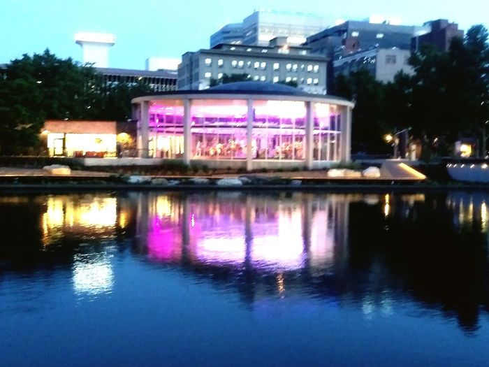Downtown Spokane Spokane River Riverfront Park Lights Merry Go Round City Water Illuminated Reflection Purple Sky Architecture Building Exterior Built Structure Waterfront Dusk Evening River Calm Rippled The Architect - 2018 EyeEm Awards