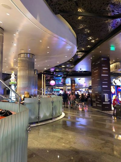 Las Vegas Ambiance Lighting Ambiance Glass Railing Interior Design Interior Hospitality Casinos Casino And Resort Casino Travel Architecture Built Structure Incidental People Illuminated Travel Destinations Indoors  Ceiling Reflection Modern Luxury