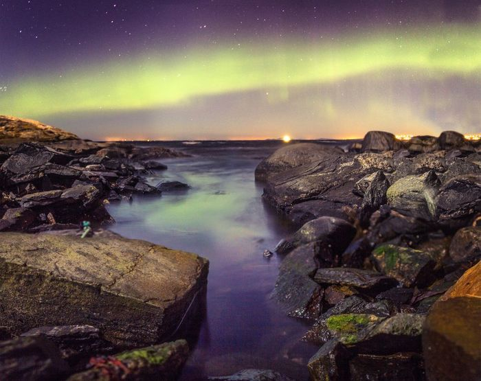 Northern lights at the coast Norway Northern Lights Aurora Borealis Stavanger Scandinavia Scenery Landscape Coastline Coast Long Exposure Sea Seascape Nightphotography Light Reflection The Great Outdoors With Adobe The Great Outdoors - 2016 EyeEm Awards EyeEm X Adobe - The Great Outdoors