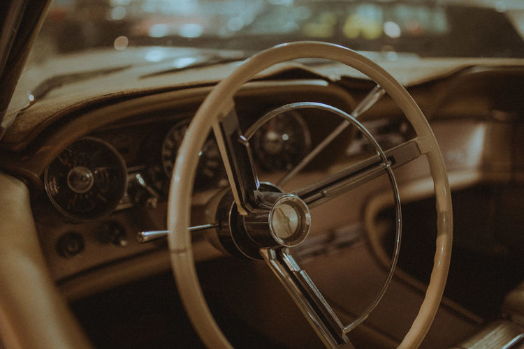 Old-fashioned Steering Wheel Land Vehicle Vehicle Interior Close-up First Eyeem Photo