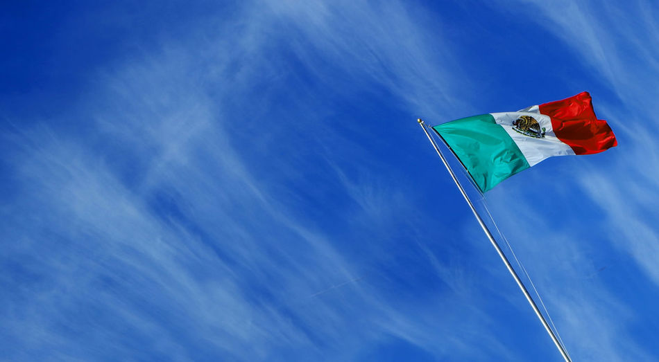 Blue Sky Flags In The Wind  Mexico Proud Sky