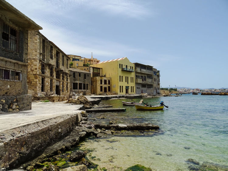 Boat Chania Chania Old Port Crete Greece June 2016 Kreta No People Old Buildings Old Houses Old Port Port Sea Tampakaria Travel Water