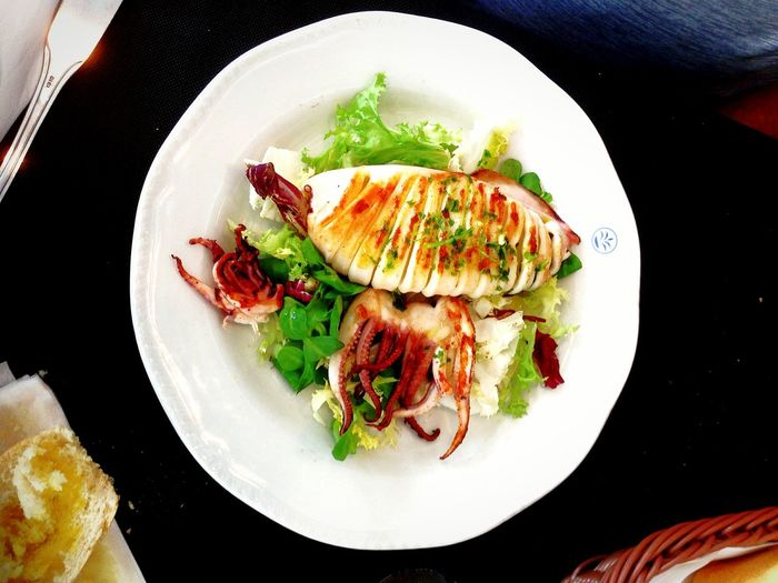 Tentacle Surprise ~ Mediterranean  SPAIN Food Stories Dining Cuisine Vacation Destination Salad Brunch Octopus Squid Al Fresco Food Plate Ready-to-eat Food And Drink Serving Size No People Freshness Directly Above Close-up Indulgence Seafood Cooked Gourmet Healthy Eating Temptation