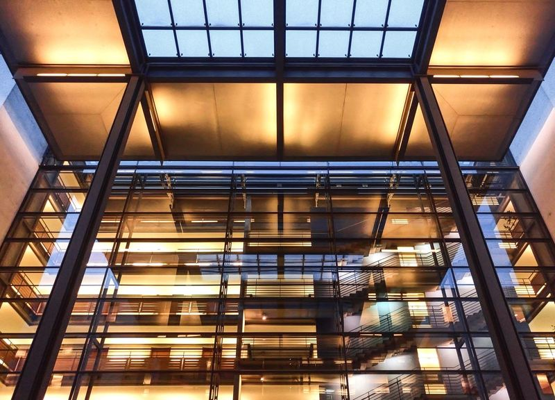 Wall of Glass Cityscape Wanderlust City Travel Destinations Afternoon Lights Reflection Architecture Staircase Built Structure Indoors  Steps And Staircases Low Angle View Steps No People Modern Day
