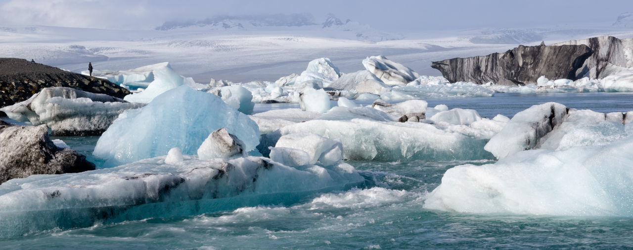 Ice Cold Temperature Water Glacier Landscape Environment Sea Frozen Nature Beauty In Nature Scenics - Nature Day Iceberg - Ice Formation Floating Melting Iceberg Floating On Water Iceland Glacier Lake Tourist Destination Power In Nature