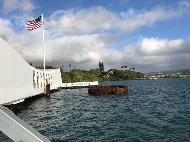 Pearl Harbor Memorial Flag Patriotism Water Cloud - Sky River No People Sky