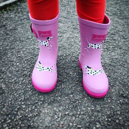Childs Feet with Dalmation Joules Wellies Joules Walking Around Wellies  Child Close-up Dalmation Day Fashion Feet High Angle View Human Body Part Human Leg Lifestyles Low Section One Person Outdoors People Pink Color Real People Standing Street Wearing