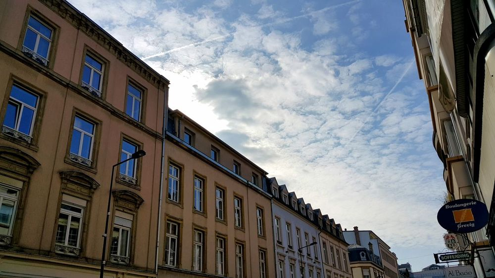 Architecture Building Exterior Building Feature Built Structure City Cloud - Sky Day Low Angle View Luxembourg Luxembourg Streetphotography No People Outdoors Residential Building Serencan Sky Window