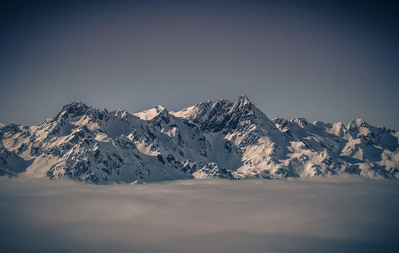 Scenic View Of Snow Mountains Against Clear Sky