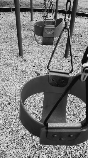 High Angle View Sunlight Day Outdoors No People Close-up Childhood Memories Children_collection Playground Equipment Swings With A View Swing Swing Swing Blackandwhite Photography Swings Are Fun :3 Swingtime