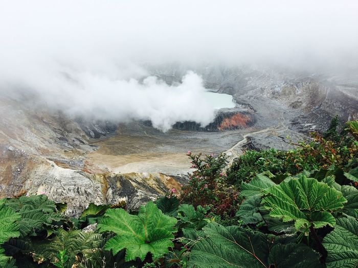 High Angle View Of Smoke Emitting From Poas Volcano
