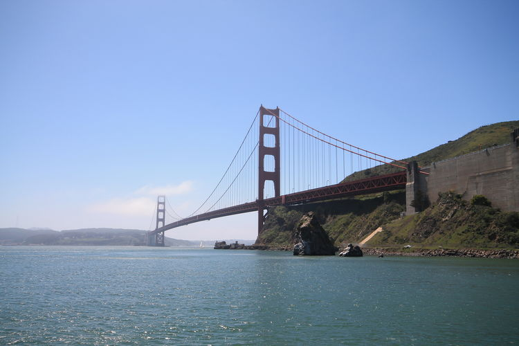 Suspension bridge over sea against clear blue sky