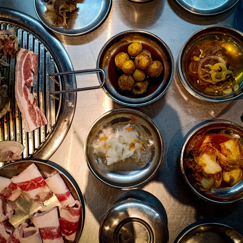samgyupsalamat Flatlay Flat Lay Samgyupsal Korean Food Korean BBQ City Food Table Variation High Angle View Directly Above Close-up Food And Drink #urbanana: The Urban Playground EyeEmNewHere