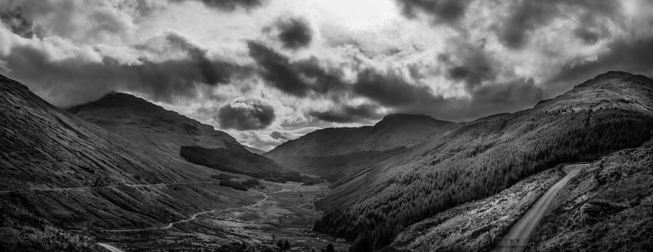 The view from the top of the mountain pass named Rest and Be Thankful, argyll, Scotland. Glen Croe Scotland Argyll Beauty In Nature Black And White Friday Cloud - Sky Day Landscape Mountain Mountain Range Nature No People Outdoors Physical Geography Scenics Sky Tranquil Scene Tranquility Travel Destinations