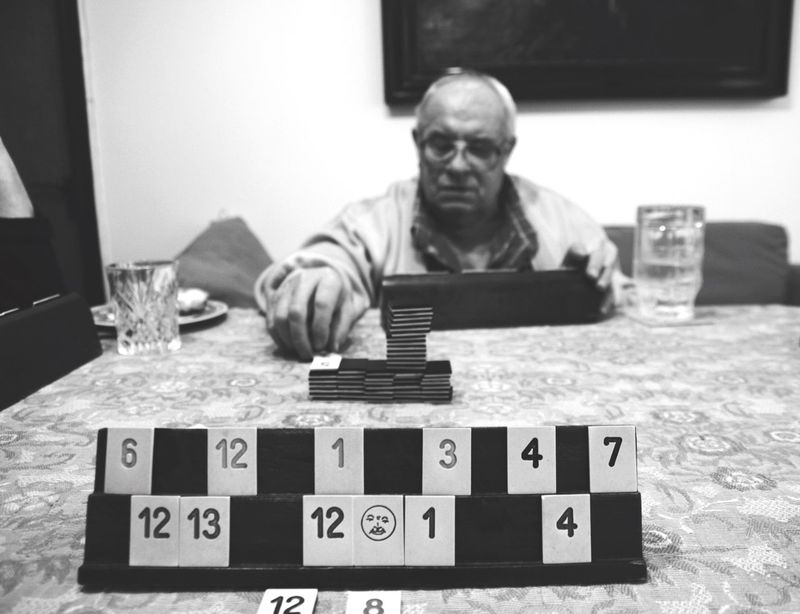 Game Games Grandfather Grandpa Age Front View Focus On Foreground Table Sitting Watchoutfordetails Black & White Blackandwhite Photography People Faces MonochromePhotography Monochrome Photography