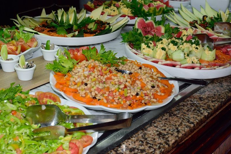 Large plates of salads in buffet Food And Drink Food Plate Salad Ready-to-eat Freshness Vegetarian Food Salad Healthy Eating Vegetable Meal