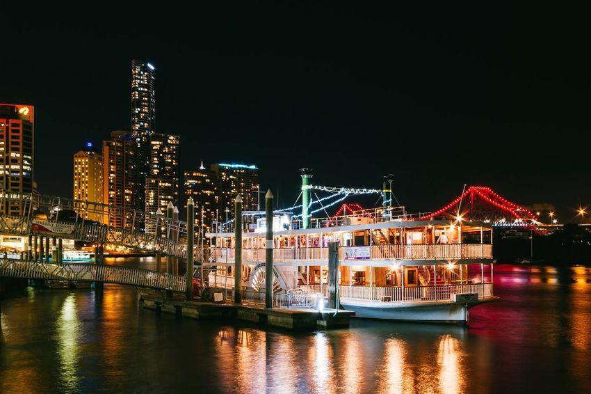 Boat Brisbane Cruise Ship Night Night Lights Night Photography Reflection River Skyscraper Story Bridge...