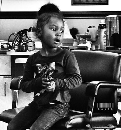 Lil girl in her grandfather's chair. Black And White Barbershop Portrait Of A Woman Black And White Portrait