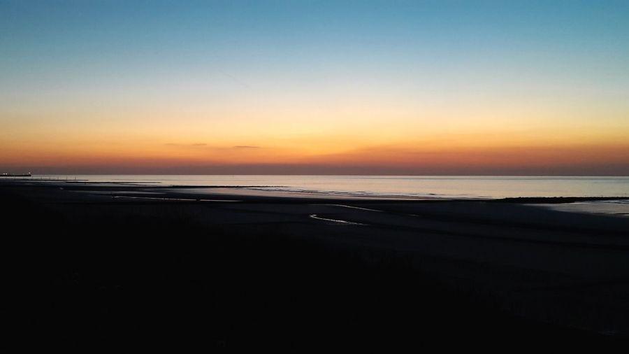 Belgian Coast Westende Sea Sunset Beach Sand Horizon Blue Seascape Coast