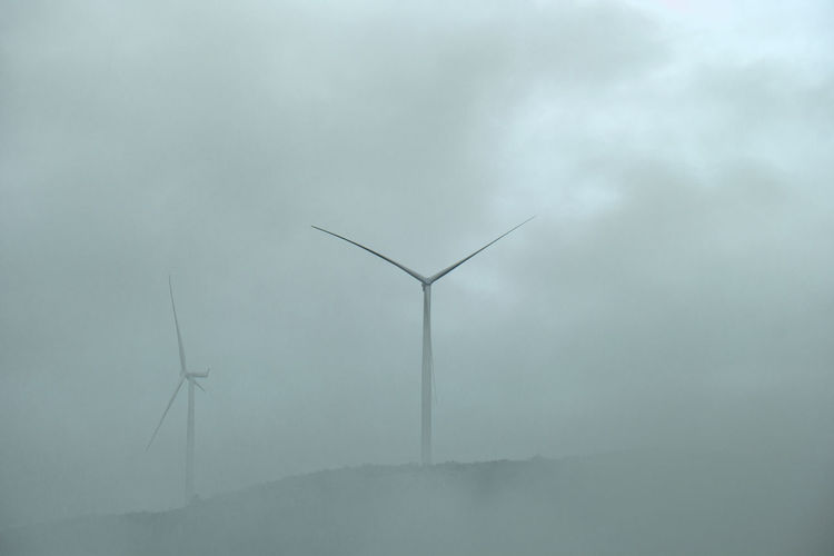 Wind generators in fog Environment Environmental Conservation Alternative Energy Renewable Energy Wind Power Fuel And Power Generation Sky Wind Turbine Turbine Nature Fog No People Cloud - Sky Low Angle View Technology Outdoors Landscape Day Rural Scene Wind Sustainable Resources Power In Nature